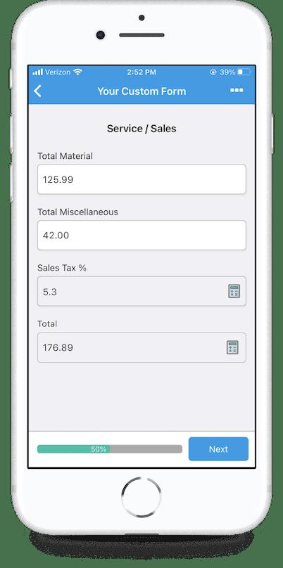 GoCanvas mobile form calculations on mobile app
