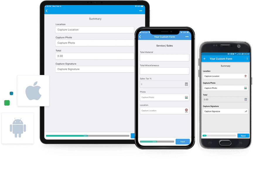 GoCanvas mobile form on tablet and iPad, Apple phone, and Android phone