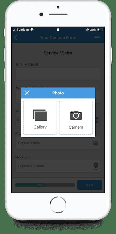 GoCanvas mobile form image capture screen on mobile app