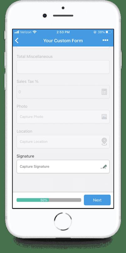 GoCanvas mobile form signature capture screen on mobile app